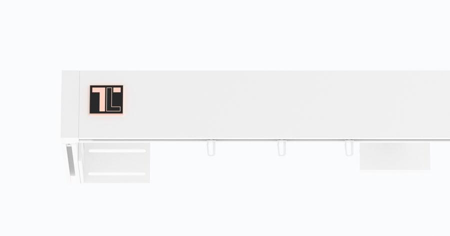 Karnisz TOP-LINE zamknięty LOGO biały połysk